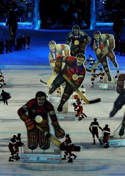 Giant board-game Hockey Players. Reproduced in large format for the Closing Ceremonies of the 2010 Vancouver Winter Olympic Games.