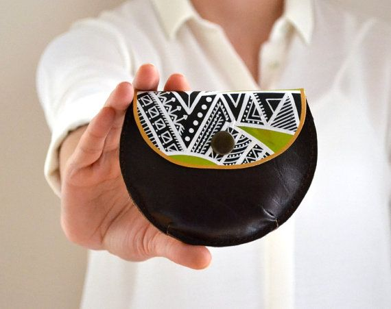 Black White Green Doodled Leather Coin Purse by BarbaLeatherWorks