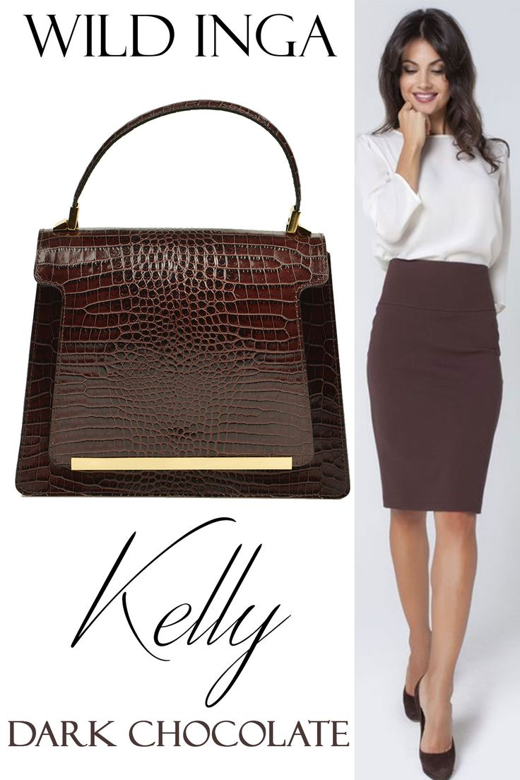 The dark chocolate Kelly made of natural leather with croc effect can easily match your office outfit @comenziwildinga