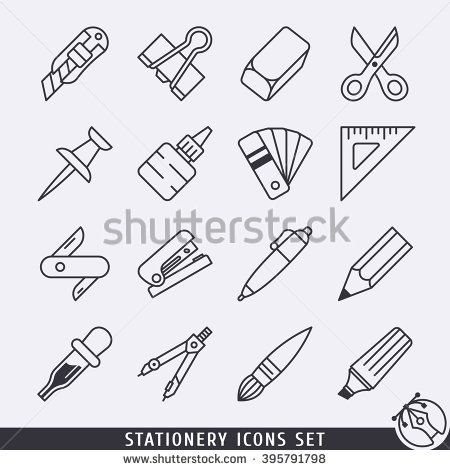 Stationery icons set black and white lineart - stock vector