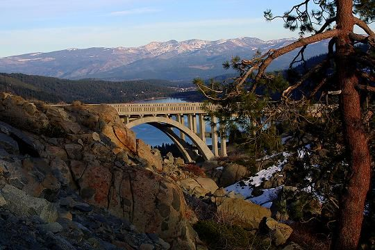 Donner Lake and Rainbow Bridge in Truckee, California.  This is a beautiful site.