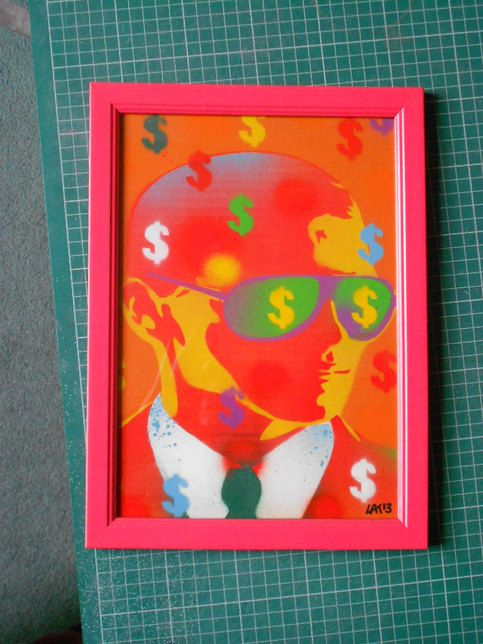 Framed+pop+art+painting,+cash+rules+everything+around+me    9.5+by+13+inches+(+in+frame)    Stencils+&+spray+paints+on+card+in+stawberry+red++sprayed+frame    Spray+painted+strawberry+red+frame+with+a+hand+drawn,+hand+cut+stencil+and+spray+paint+on+card+inside      Original+painting.    Signed+da...
