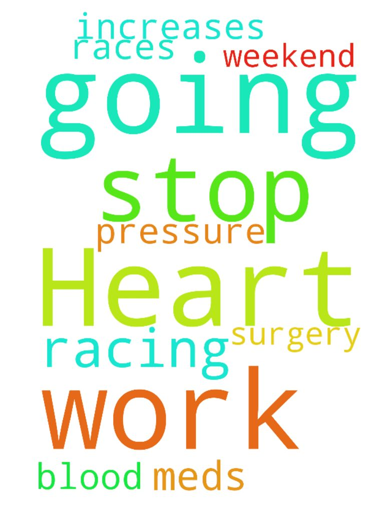 Heart is racing at work. I'm going to have to stop - Heart is racing at work. Im going to have to stop meds this weekend in which it races more and increases blood pressure. Then I have a surgery. I need to get through this. Posted at: https://prayerrequest.com/t/ztt #pray #prayer #request #prayerrequest