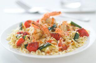 Salade dorzo avec crevettes et pesto