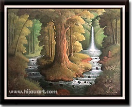 PD118 - Lukisan Hutan Hijau 60x80 Ukuran: 60x80cm  Harga: Rp.375.000