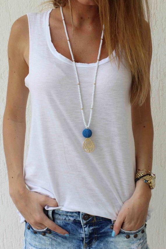 Largo con cuentas oro colgante collar azul por lizaslittlethings