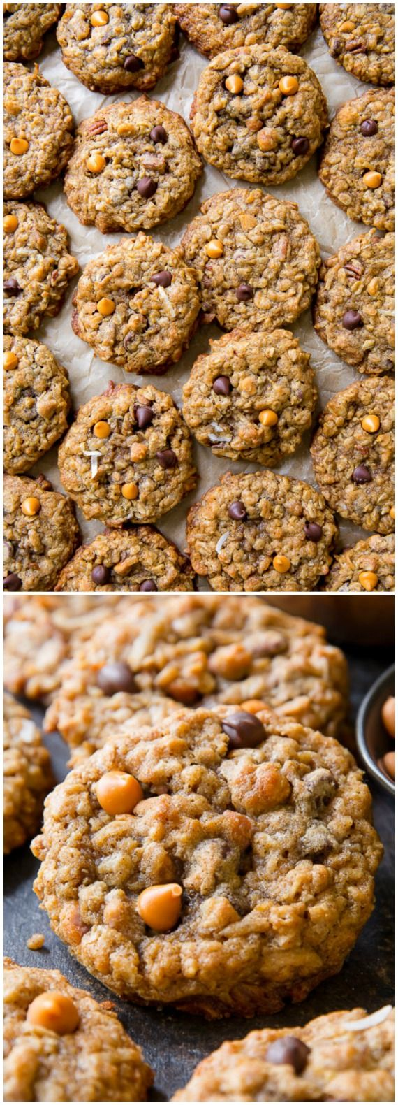 Magic 5 Cookies - These soft and chewy oatmeal cookies have it all! Chocolate chips, coconut, pecans, butterscotch, and oats.