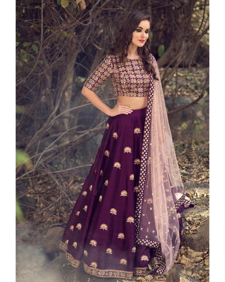 Stunning wine color designer lehenga and blouse with net dupatta. Lehenga and blouse with hand embroidery zardosi work. Mythili ~ Meenakshi collections of Mrunalini Rao. 30 December 2017
