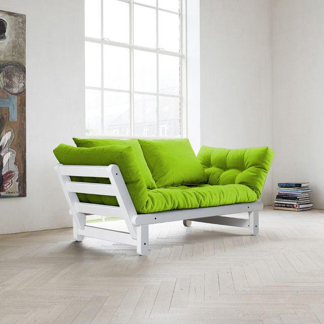 Beat Convertible Futon Sofa/Bed, White Frame, Lime Mattress contemporary-futon-frames