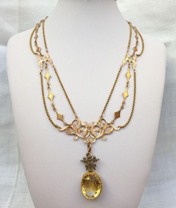 Luxuriöse Viktorianische Halskette zum Drapieren in 18 kt Gold mit großem Zitrin-Anhänger