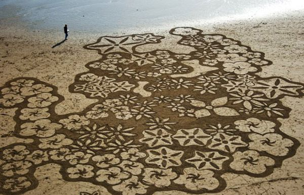 San Francisco-based landscape artist Andreas Amador etches massive sand drawings onto beaches during full moons when his canvas reaches its largest potential. To make sure he has everything he needs before he begins, Amador, crafts the image over and over on a computer using the hand-drawn original from his sketch book. His works exist for …