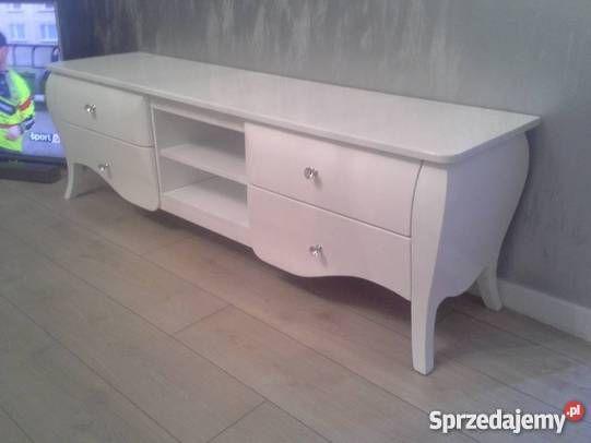 Szafka RTV Classic, stolik, szafka, 4 szuflady, półki, biała, stylowa, glamour
