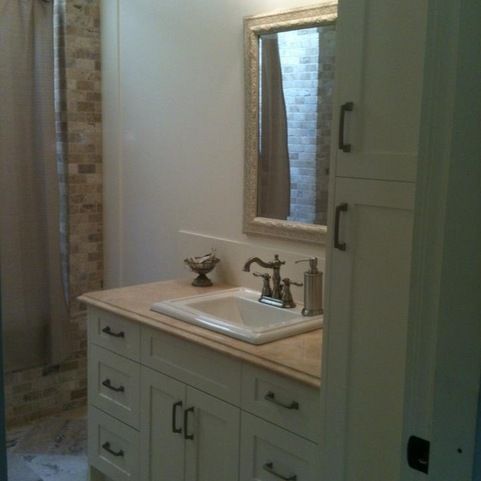 Shaker Bathroom Vanity With Linen Tower Design Ideas