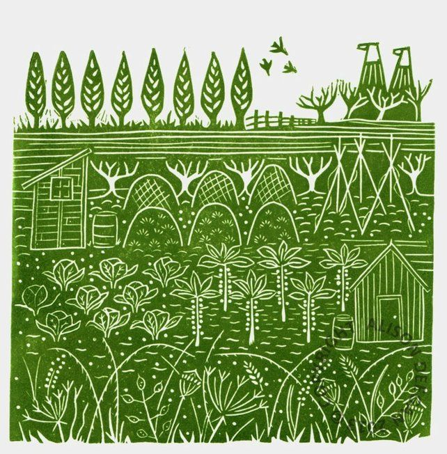 ORIGINAL lino print - 'Down the allotments II'
