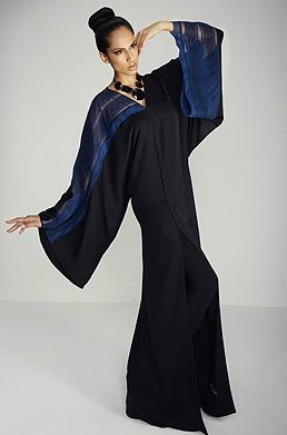 * خليجية *: Dubai Abaya Trends - blue lace panel sleeve