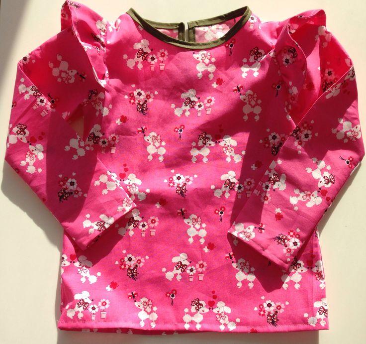 Bluse til Eleonora i pink med pudler