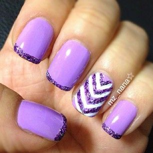 Love the glitter, but I wouldn't do the white chevrons. I'd have it that same shade of purple.