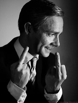 Martin Freeman, sorry for the fingers everyone but I do find his face very interesting in this photo.