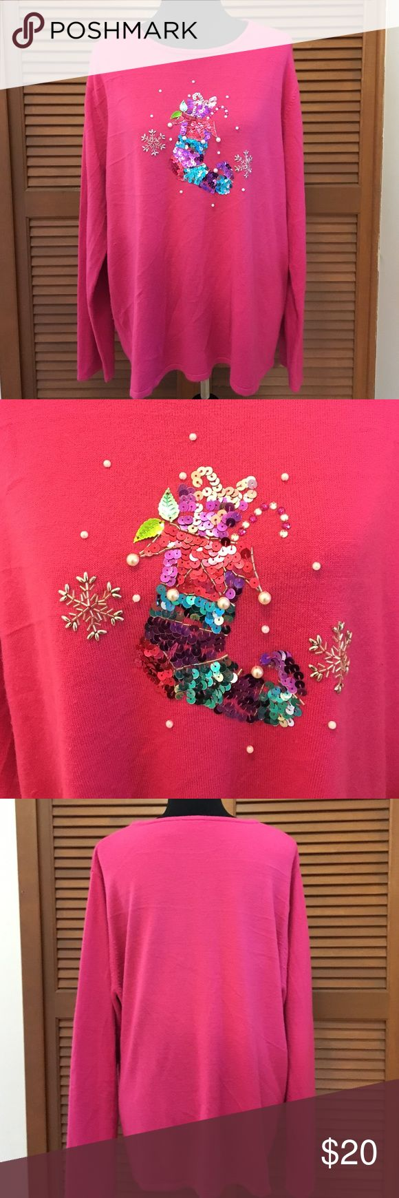 Fieldgear plus size Christmas sweater 3X pink Who says all Christmas sweaters have to be green and red?!? Sweater has a bead and sequin stocking and snowflake design. 100% acrylic. Fieldgear Sweaters Crew & Scoop Necks