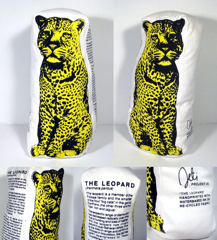 The Leopard pillow design for Jeti. Printed on recycled cotton and filled with recycled material. Design by Kristiina Haapalainen & Sami Vähä-Aho 2009.