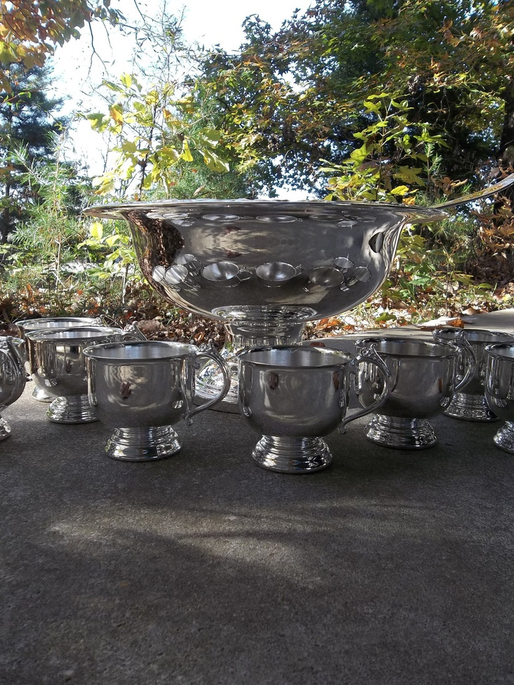 Vintage Silver Punch Bowl Ladle Silver Plate 10 Cups Wedding Decor Table Settings French Country Dining Entertaining Pottery Barn Style. $185.00, via Etsy.
