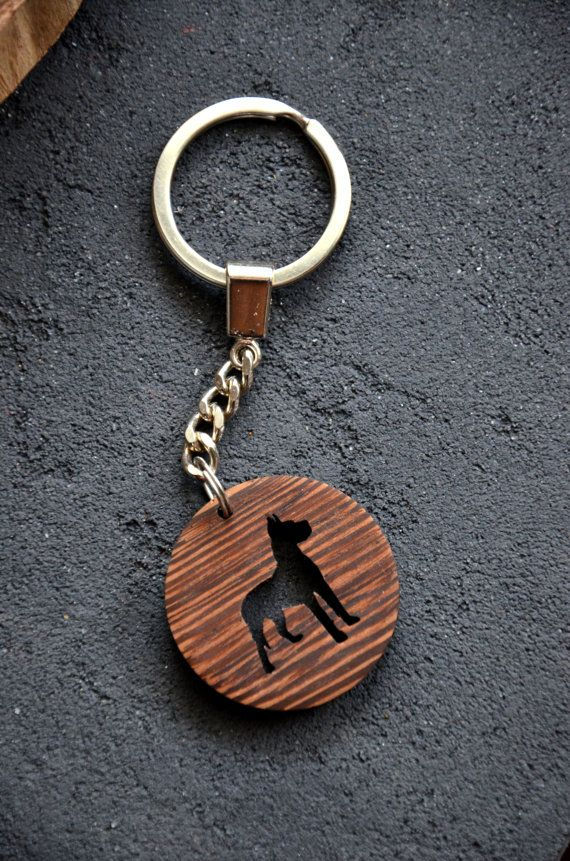Dog lover gift Pet Key Chain Wooden Engraved Custom Puppy