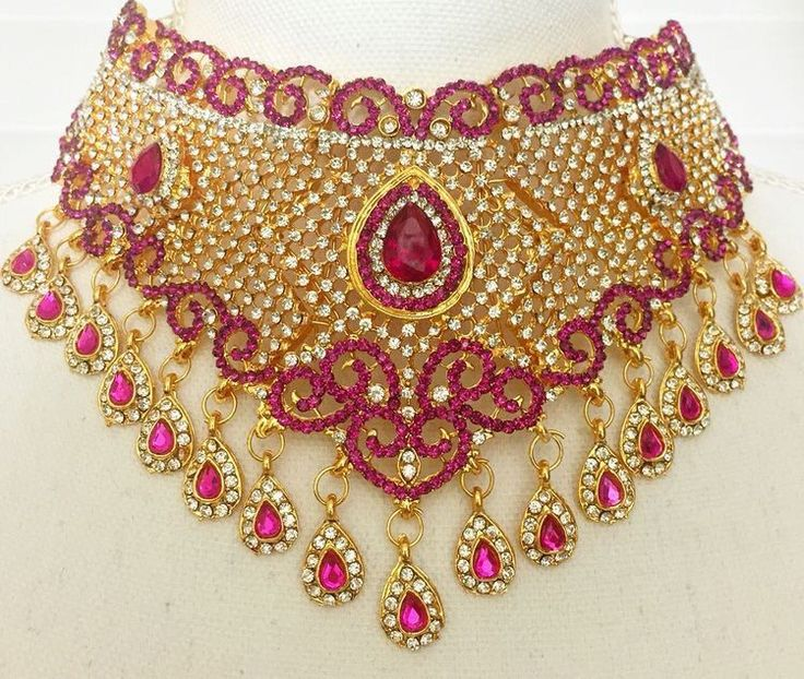 Pink Indian Bollywood Bridal Jewelry Set