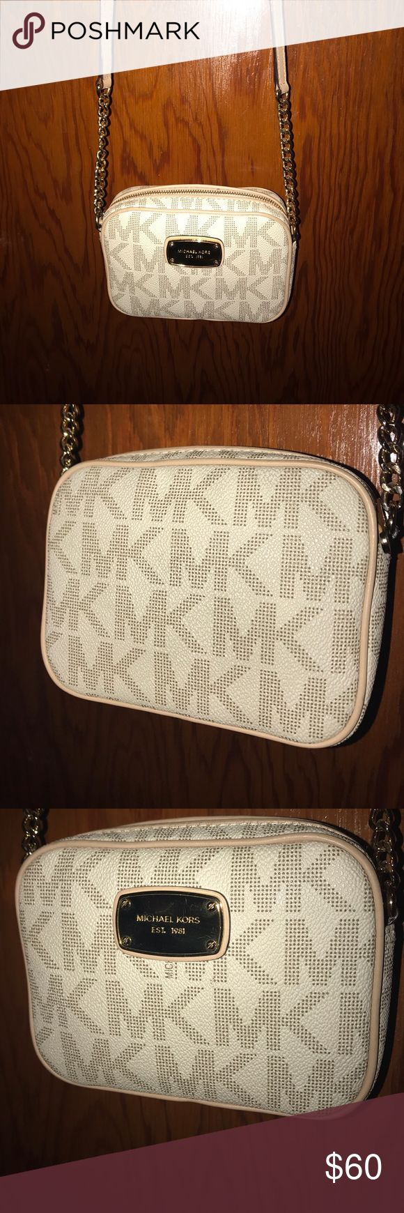 Michael Kors Hipster Purse Ivory leather bag, tan lining, gold accents Michael Kors Bags Crossbody Bags