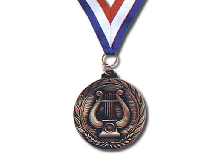 """BRONZE MUSIC LYRE MEDALLION - 2 ½""""; medal on 30"""" ribbon with lucite presentation box."""