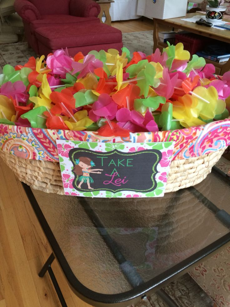 Hawaiian Luau Birthday Lei Sign by Celebrations by Maria