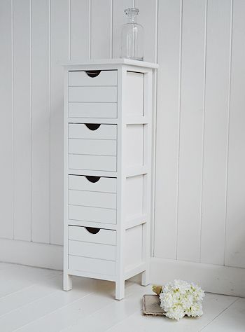 Dorset Narrow Free Standing Bathroom Cabinet With 4 Storage Drawers Ideal For Smaller Bathrooms