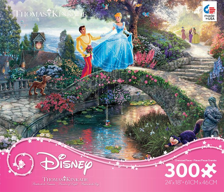 "Enjoy the magic with this oversized puzzle of Thomas Kinkade's painting, The Little Mermaid. - Manufacturer: Ceaco Item Number: 2222-05 Piece Count: 300 Puzzle Size: 24"" x 18"" - Made in the USA"