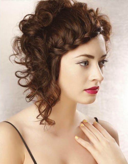 messy curly hairstyle with braiding