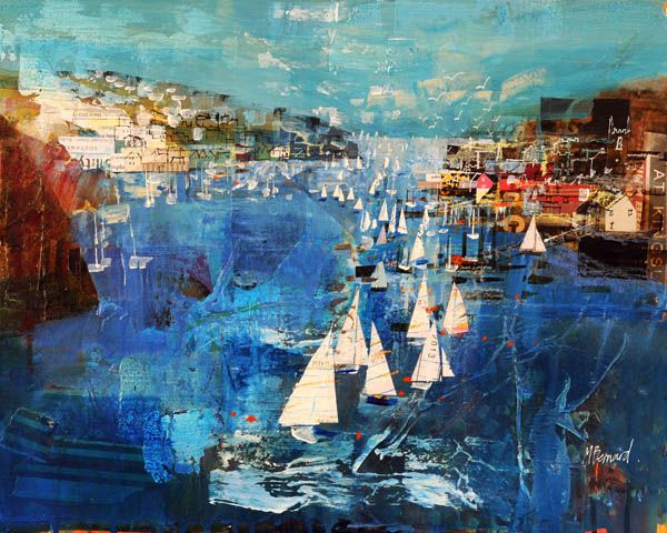 019 Polruan + Fowey from Hall Walk 16x20 Mike Bernard