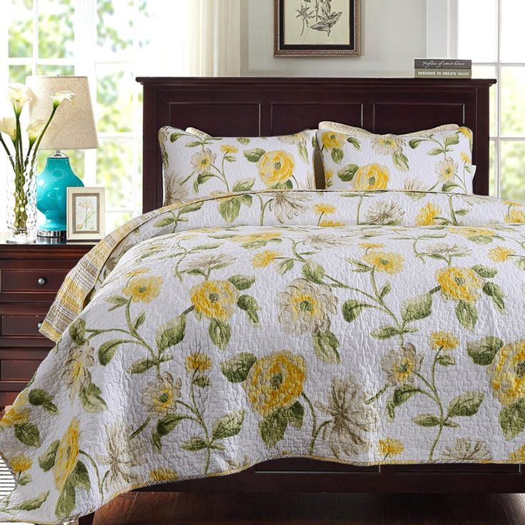 mixinni floral patchwork bed spread 3 piece reversible romantic quilt set with shams print pattern yellow luxury cotton bedding