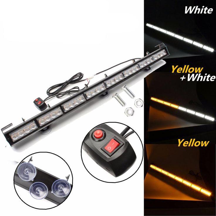 35inch 32 LED Yellow/White Car Modified Strobe Flashlight Flashing Hazard Lamp