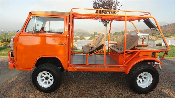 """1973 VW T2 Beach Cruiser Bus. With Dual Carbs Type 4 2,700cc VW engine, VDO gauges, Yokohama Geolander 30""""x9.5"""" R15 and 33""""x12.5"""" R15. PIAA off-road lights and a custom Gene Berg shifter. Six adults can be seated comfortably."""