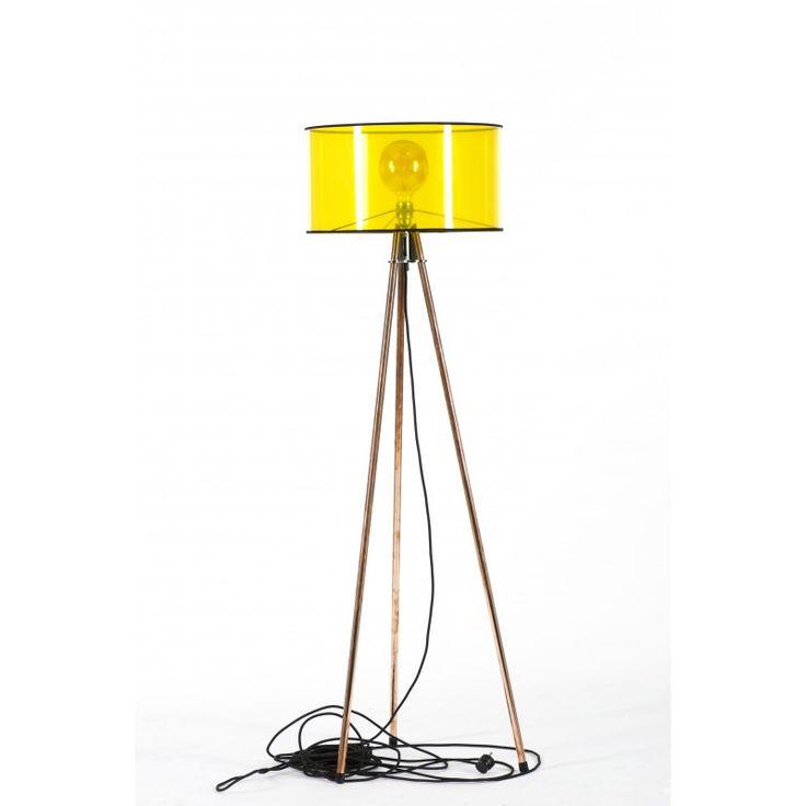 Oryginalna lampa podłogowa z transparentnym abażurem średnicy 45 cm i tekstylnym…