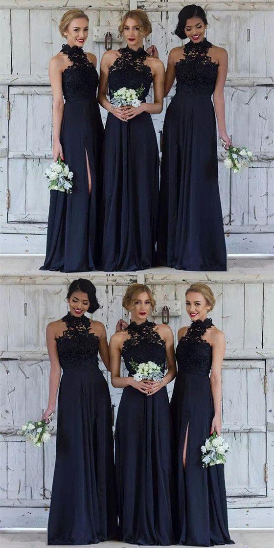 b3737459102 Floor Length Navy Blue Halter Neck Lace Appliques Top Chiffon Side Split  Bridesmaid dresses