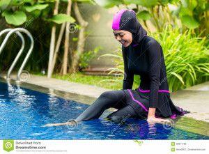 burkini moda muculmana preto com pink