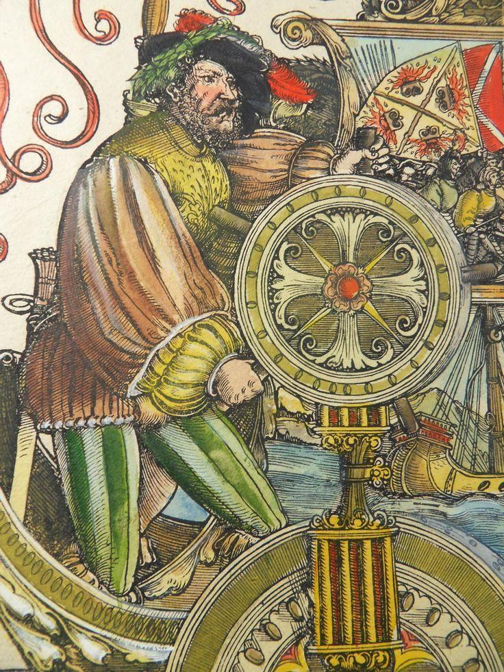 Albrecht Dürer workshop: Venetian war No. 89, D.5, (A.91), detail, woodcut, Triumphal procession of Emperor Maximilian I., ca. 1516 - 1519, currently attributed to Hans Springinklee (?), 1516-18, coloured (17.cent.) Copyright: P.D.