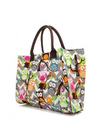 Owl Chevron Large Canvas Tote Bag $25.95