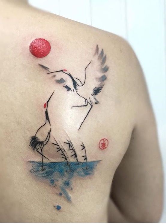 Felipe Mello crane tattoo