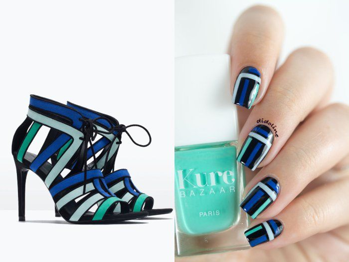 Zara sandals inspired nails by Didoline Nails