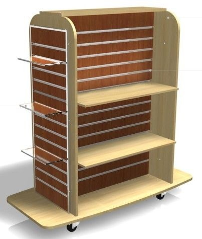 China Garment Gondola acrylic shelf MDF Slatwall Display Units 4 way retail store fixtures suppliers