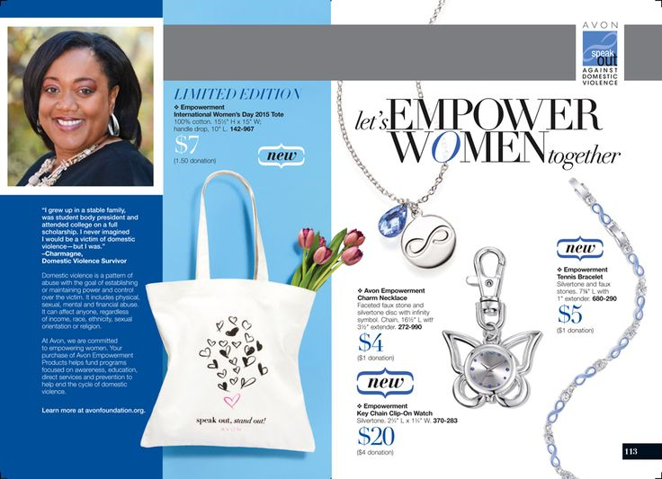 AVON Book Campaign 15 Pages 112-113 Help fight Domestic Violence. Your purchase of an empowerment piece helps fund programs to help end the cycle., Sale ends Friday. Shop online with me at https://andreafitch.avonrepresentative.com?utm_content=bufferfa358&utm_medium=social&utm_source=pinterest.com&utm_campaign=buffer?utm_content=bufferfa358&utm_medium=social&utm_source=pinterest.com&utm_campaign=buffer #buyavon #empower #againstdomesticviolence #speakout