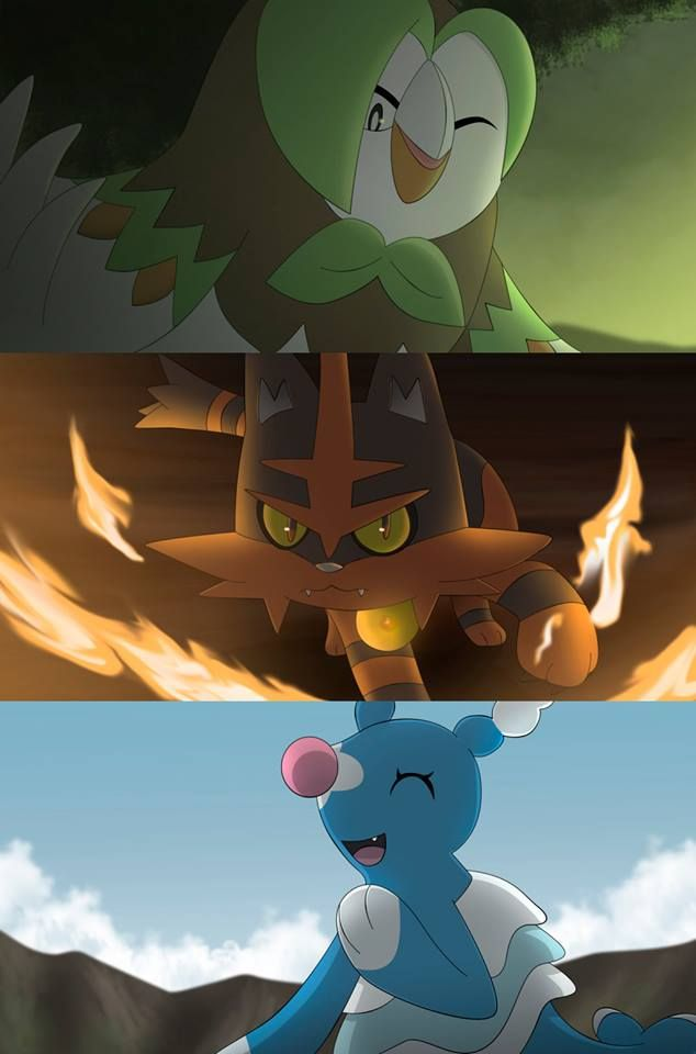 Dartrix, Torracat, and Brionne, Sun and Moon second evolution of the starter pokémon