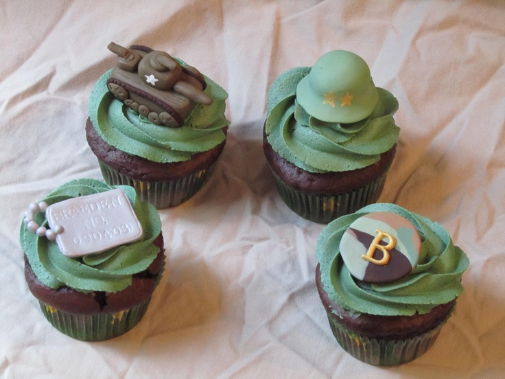 Army Cuppies - These cupcakes were chocolate cupcakes in camo liners, topped with army green vanilla buttercream.  To finish them off I made fondant toppers - dog tags with the birthday boy's name and birthdate, tanks, army helmets, and camo monograms.