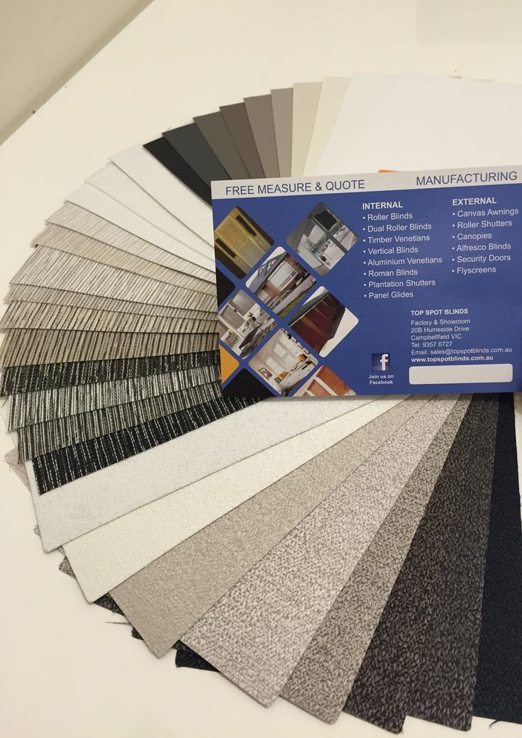 Top Spot Blinds outsources the Beat Quality fabrics to ensure your Roller Blinds will last you for years to come. Call us today in (03)93576727 for a shop at home experience. FREE measure and quote.