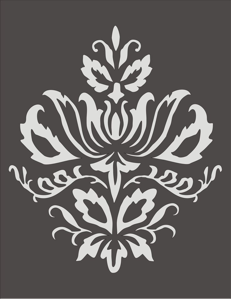 Wall Stencil Damask Design 3.2, flourish, wallpaper,floral, border, image is approx. 7.5 x 9 inches. $12.95, via Etsy.